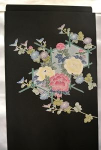帯_黒牡丹と菊_価格仕50000円